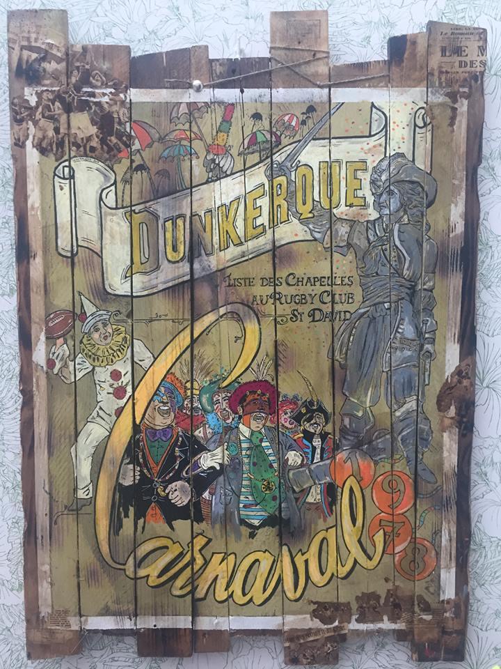Carnaval de Dunkerque  ou carnaval Dunkerque et dunkerquois déco en bois Woodflagg  avec Jean Bart des carnavaleux des parapluies pour déco en bois vintage