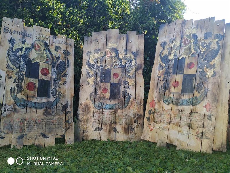 blason familial di gleria de la famille di gleria blason et armoieries ou armoiries familiales et histoire familiale  en décoration et bois ancien, vintage